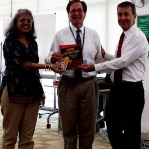 Here I am presenting the book to the librarian and Jonathan Smithees, the school principal