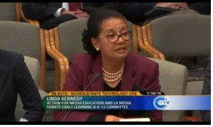 Linda Kennedy, Action for Media Education, speaks at hearing