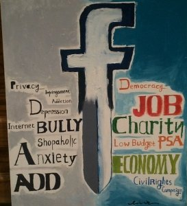 In one of my classes, a student painted this double-edged sword to illustrate the good and the bad about social media.