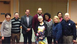 The Action for Media Education team meeting with legislators. From left, Marilyn Cohen, Nick Pernisco, Rep. Strom Peterson, Sen. Marko Liias, Claire Beach, Linda Kennedy, Barbara Johnson, Lilia Cabelo, Michael Danielson.