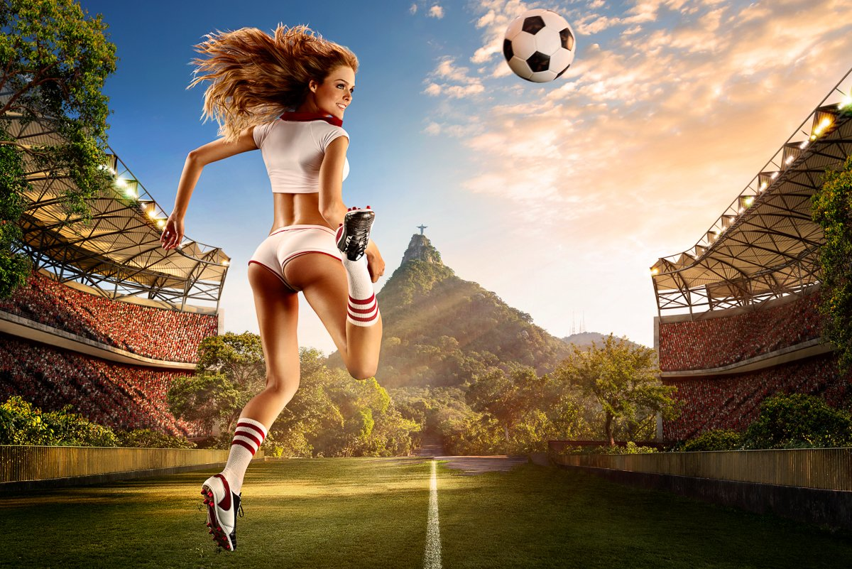 sexualized woman playing soccer