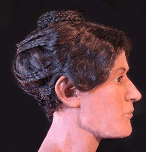 Artist Victoria Lywood's facial reconstruction of an Egyptian Mummy on display at McGill University's Redpath Museum.
