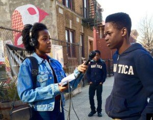 Corinne Bobb-Semple reporting her story in Brooklyn.