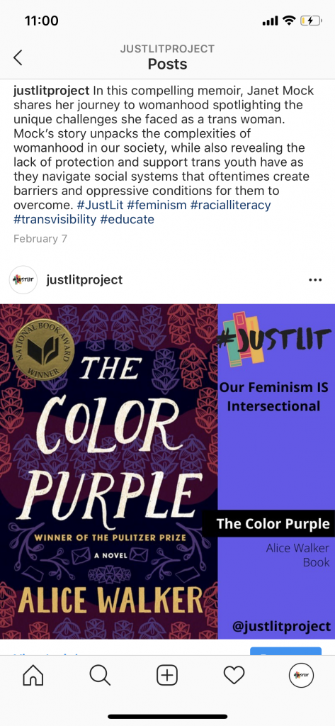 #justlit screenshot featuring curate hashtags and The Color Purple by Alice Walker