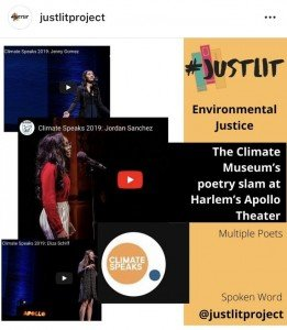 #justlitproject screenshot featuring resources about environmental justice